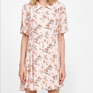 Zara pink floral button down dress xs french chic